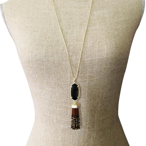 Kendra Scott Eva Brown Tiger Eye Gold Long Pendant Tassel Necklace